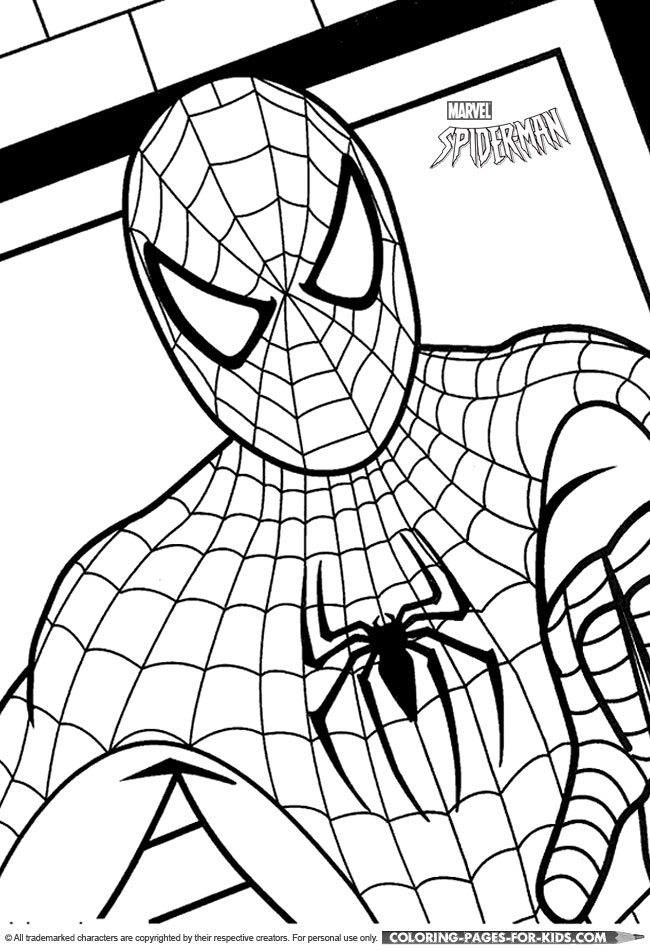 Spider-Man Coloring Page For Kids - Spider-Man close-up