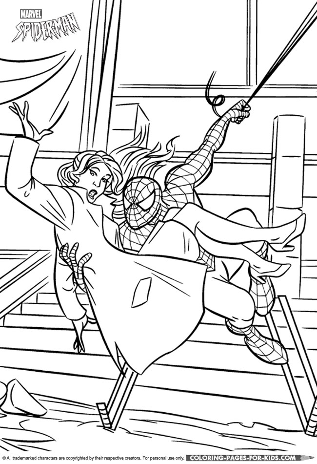 Spider-Man Coloring Picture - Spider-Man saves Mary-Jane