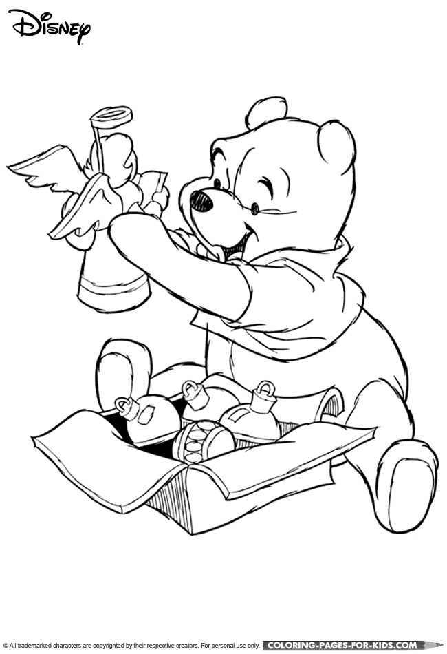 Disney Christmas Coloring Page - Winnie the Pooh Christmas