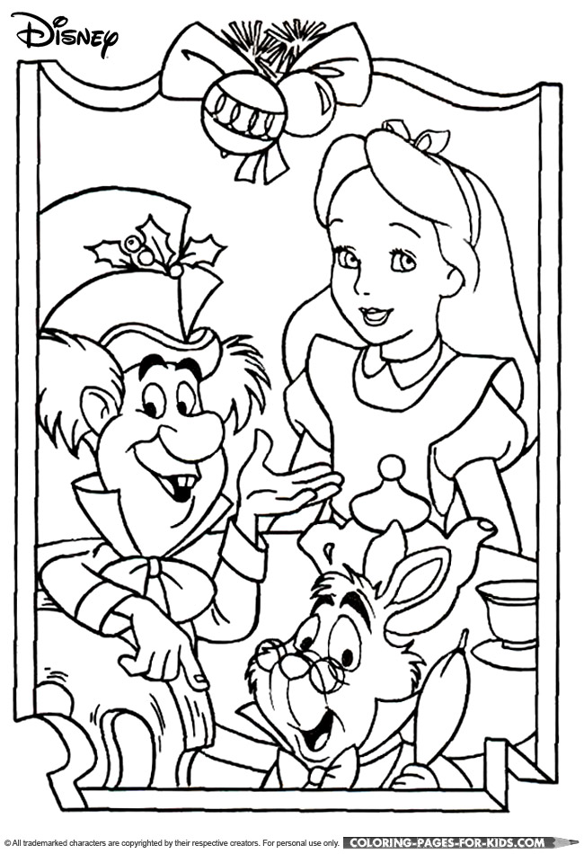 disney alice in wonderland coloring pages - disney christmas coloring page alice in wonderland christmas