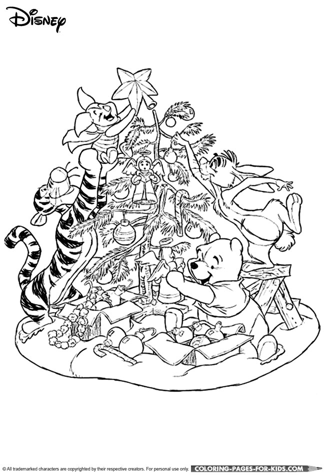 Disney Christmas Coloring Page For Kids - Winnie the Pooh Christmas ...