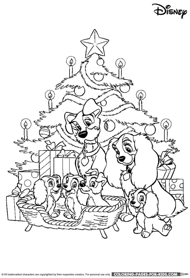 Disney Christmas Coloring Page Lady And The Tramp Christmas