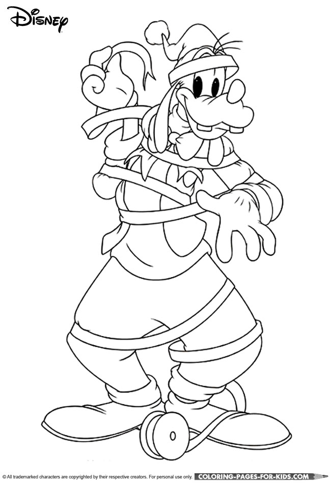 Goofy Christmas Wrapping Coloring Page For Kids