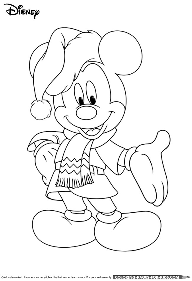 Mickey Disney Christmas Coloring Page For Kids