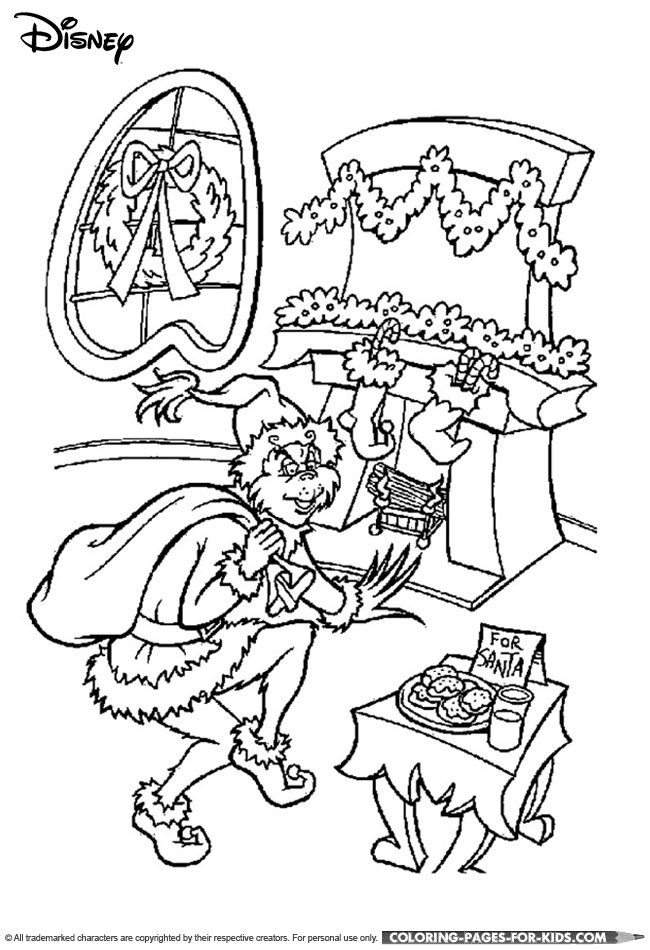 Disney Christmas Coloring Page - The Grinch Christmas